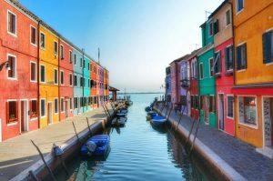 """""""burano case e canale sfociano laguna venezia"""""""