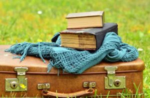 """""""articoli di viaggio valigia con sopra libri"""""""