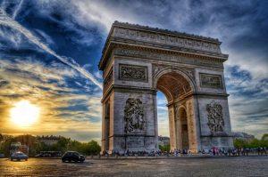 """""""parigi arco di trionfo tramonto viaggi"""""""