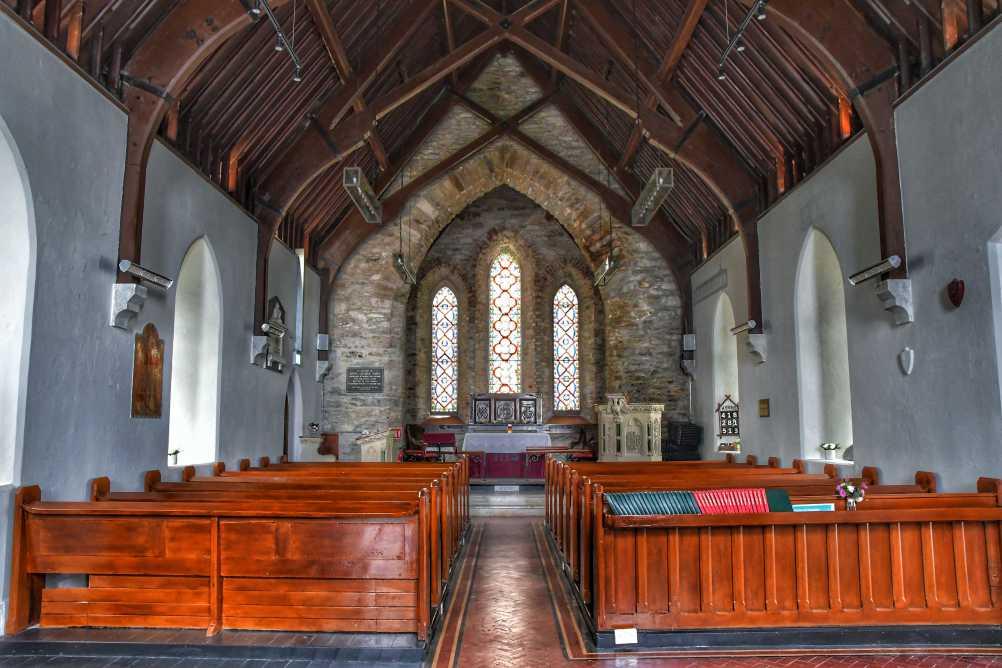 """""""interno chiesa waterville con sue panche in legno"""""""