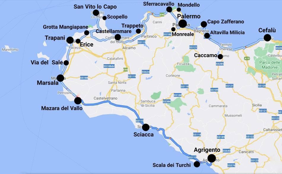 """""""mappa sicilia occidentale con indicati i luoghi da visitare assolutamente"""""""