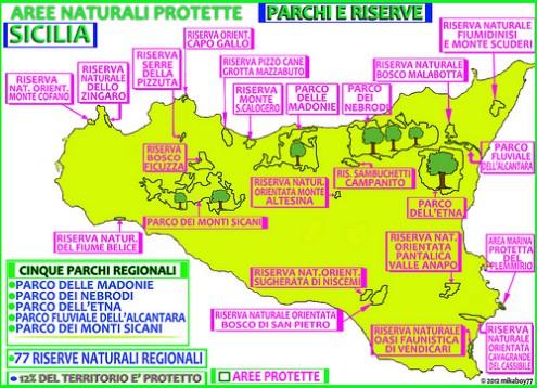 """""""mappa parchi e riserve dei posti da visitare in sicilia"""""""