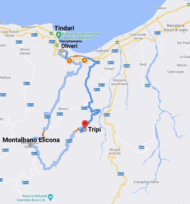 """""""tour sicilia luglio 2021 cartina giorno due"""""""