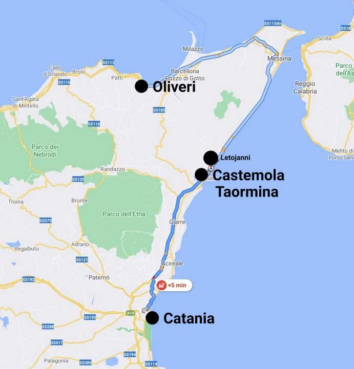 """""""mappa tour sicilia 20121 primo giorno"""""""