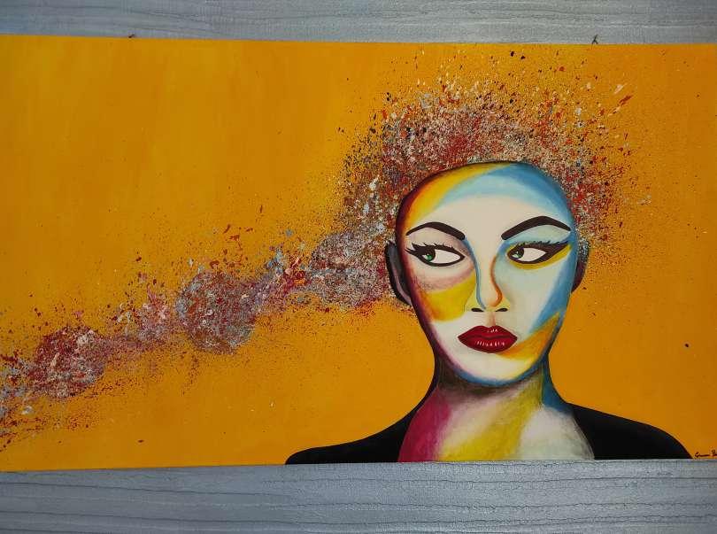 """""""quadro orizzontale prevalente giallo con faccia donna capelli lunghi stanza scirocco house"""""""