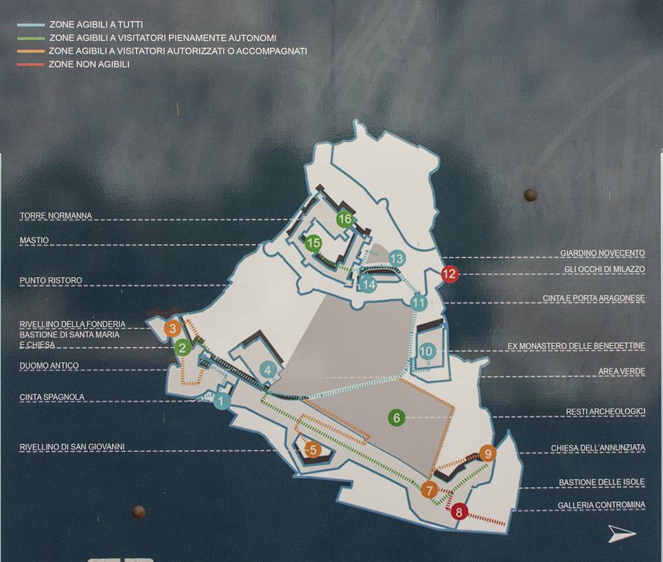 """""""mappa del castello di milazzo sicilia"""""""