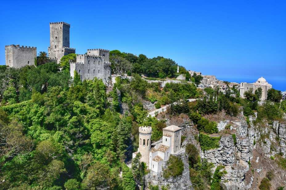 """""""vista da lontano del castello e della torretta pepoli ricoperte di vegetazione."""