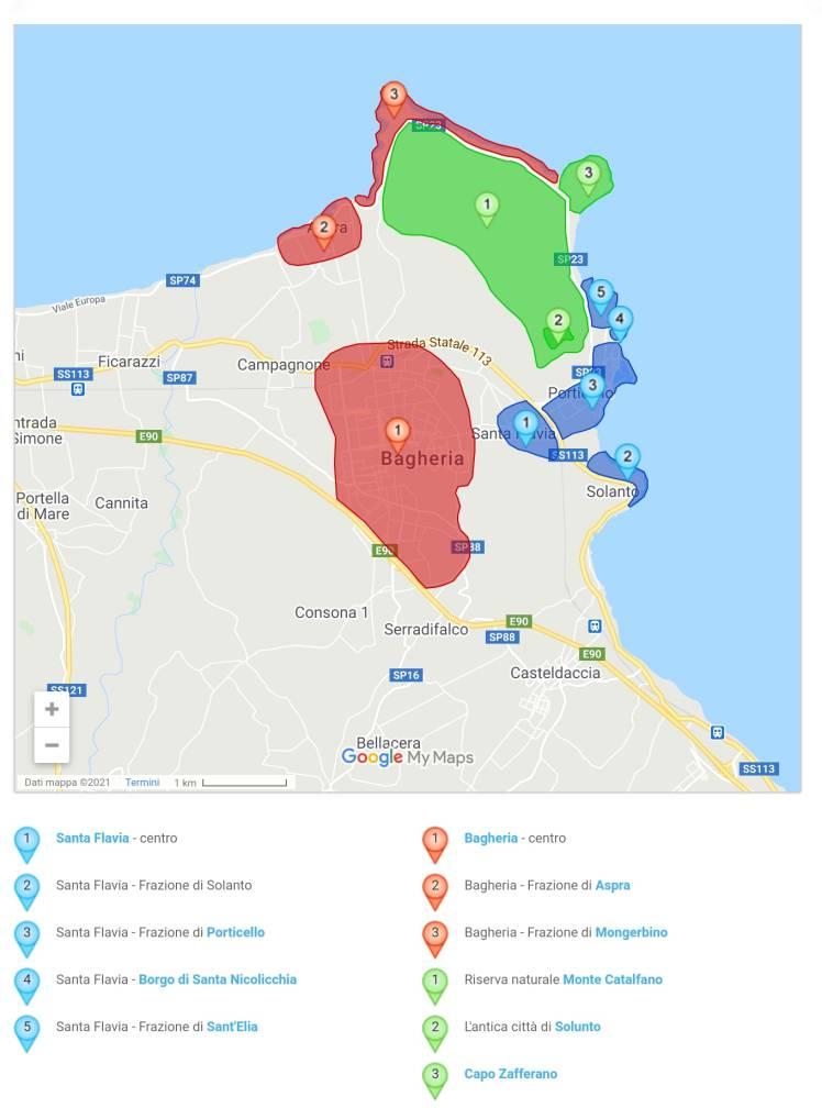 """""""cartina santa flavia con zone di sant elia porticello capo zafferano evidenziate"""""""